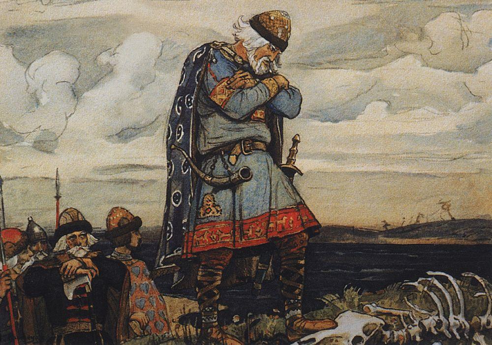 Олег у костей коня. В. М. Васнецов, 1899
