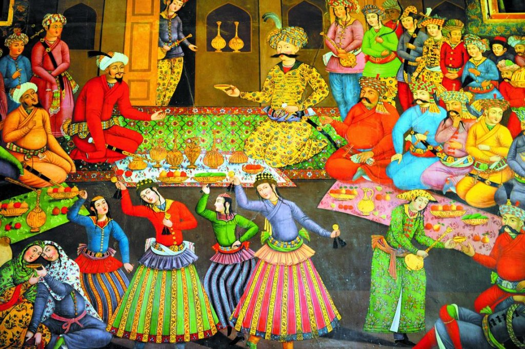 Персия всегда была мечтой Пушкина-путешественника. Фреска из дворца Чехель Сотун.Исфахан.