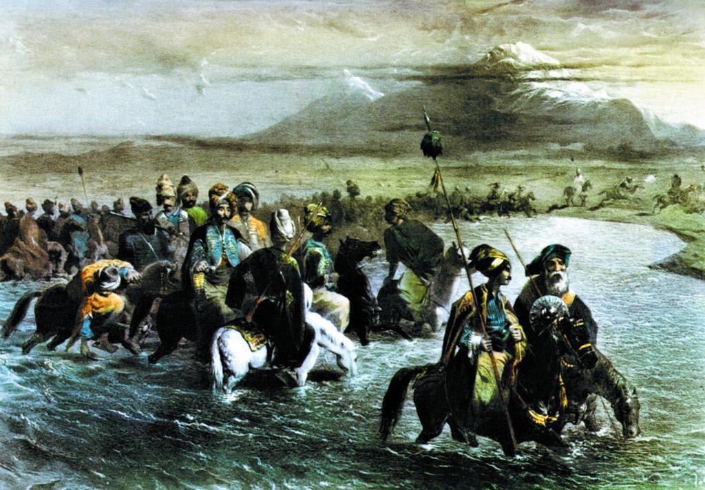 Армения. Курды, переходящие вброд реку Аракс. Литография по рисунку Г.Г. Гагарина