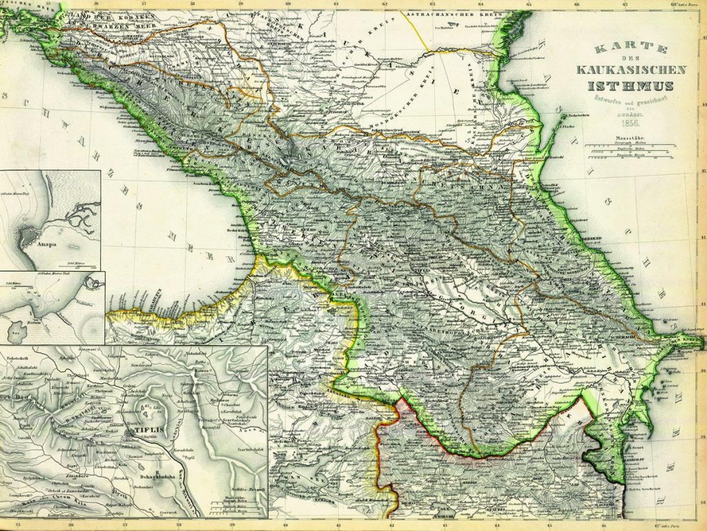 Карта Кавказа. 1856