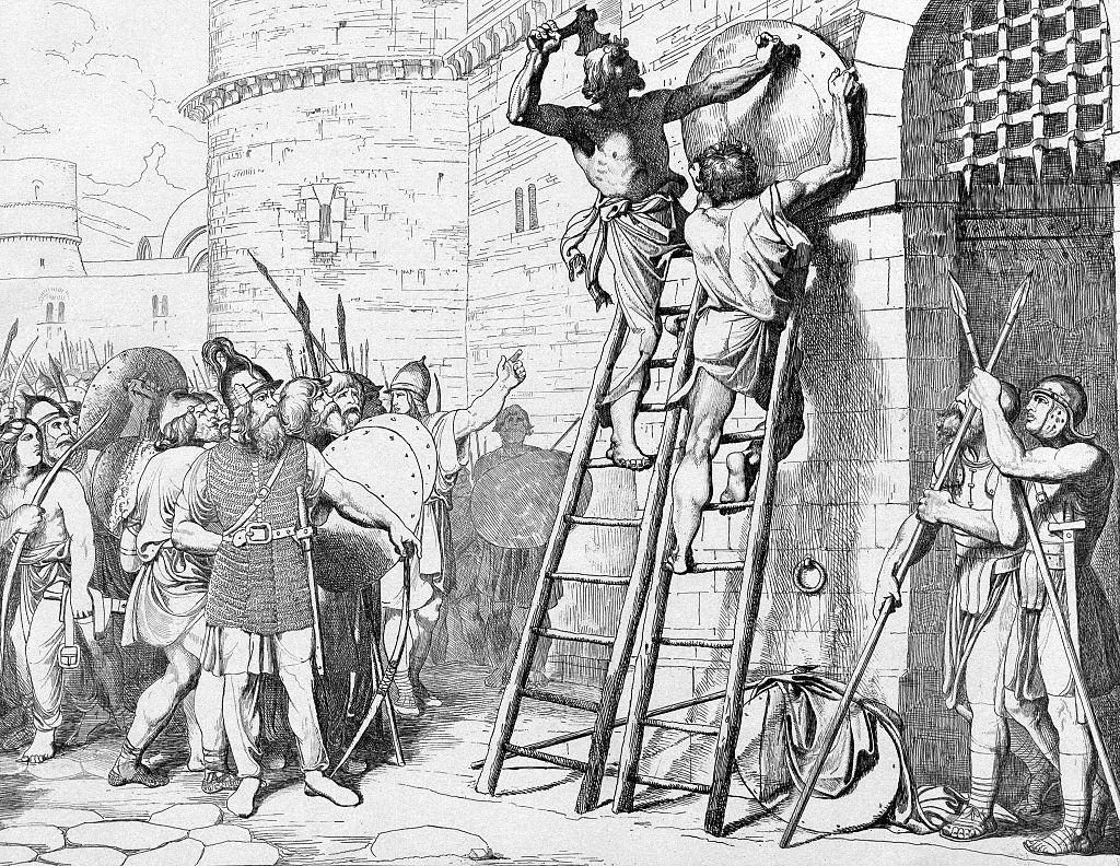 Олег прибивает щит свой к вратам Царьграда. Гравюра Ф. А. Бруни, 1839.