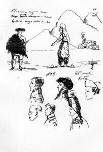 И во время «Путешествия в Арзрум» Пушкин не мог не соединять свои поэтические и дневниковые записи с рисованием.1829