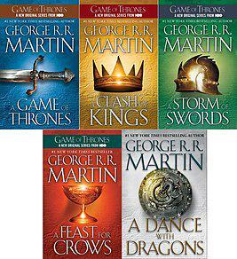 Обложки пяти книг серии Песнь льда и пламени Джорджа Мартина, изданных в США