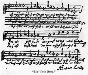 Автограф знаменитой церковной песни Мартина Лютера «Ein' feste Burg»
