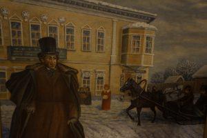 Пушкин у гостиницы Пожарских. Художник С.И. Телин. 1970-е