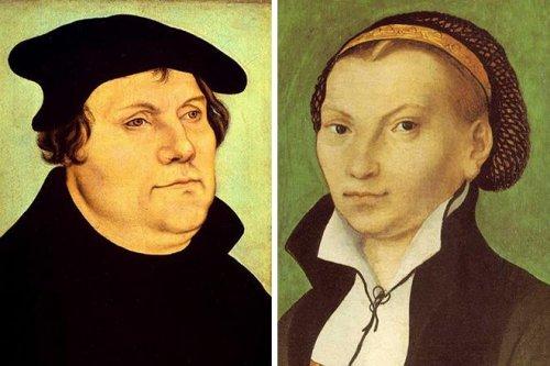 Мартин Лютер и его жена, Катарина фон Бора. Репродукция картины Лукаса Кранаха Старшего. Художник был близким другом Лютера.