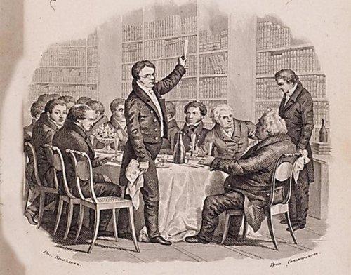 Новоселье Гравюра С. Галактионова с рисунка А. Брюллова 1833