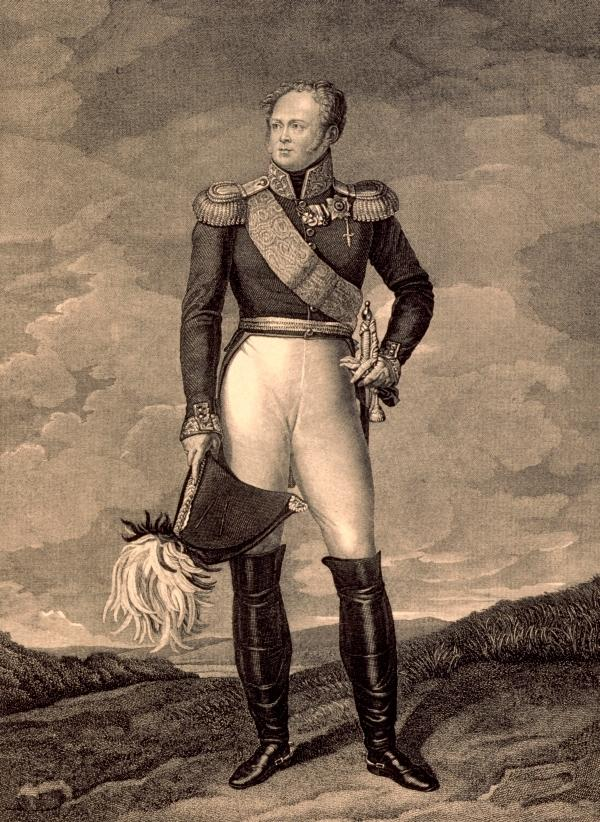Император Александр I. Гравюра резцом с оригинала Франсуа Жерара. 1815 г.