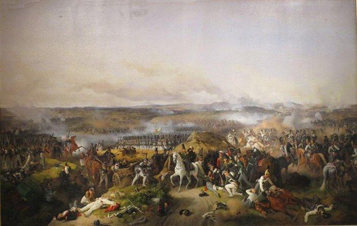 Бородинское сражение. В центре картины раненый генерал Багратион, рядом с ним на коне генерал Коновницын. Вдали виднеется каре лейб-гвардии. Художник Петер Гесс, 1843