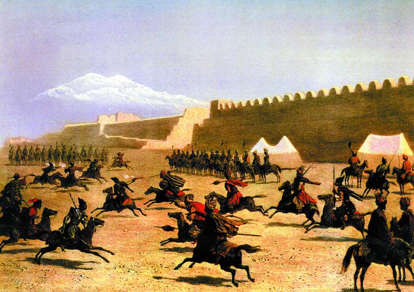 Джигитовка в Сардар-Абаде. Курды и татары. Литография по рисунку Г.Г. Гагарина