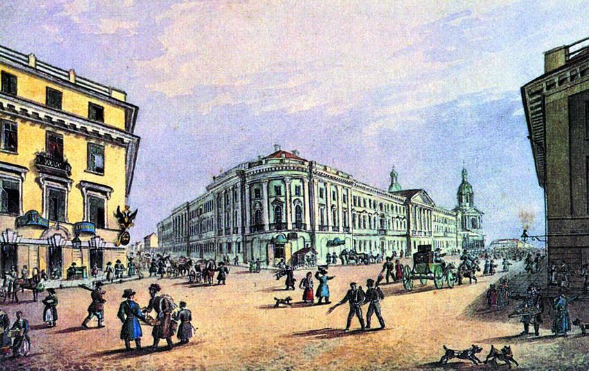 Петербург. Садовая улица. Литография К.П. Беггрова по рисунку К.Ф. Сабата и С.П. Шифляра. 1820-е