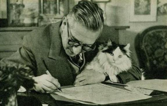Jean-Paul Sartre and his existentialist kitty