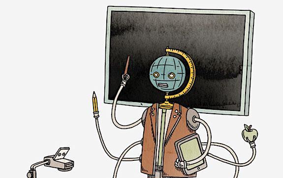 робот у доски