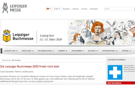 Книжная ярмарка в Лейпциге отменена
