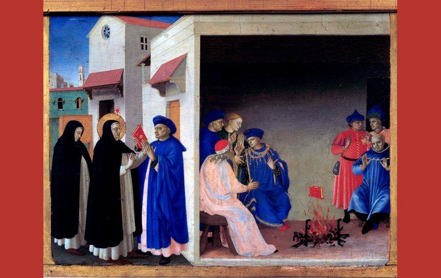 Фра Беато Анджелико. Проповедь св. Доминика и Чудо с книгой, 1435
