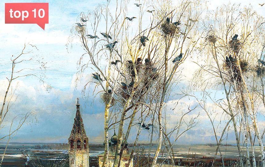 Фрагмент картины Алексея Кондратьевича Саврасова «Грачи прилетели». 1871 / ГТГ