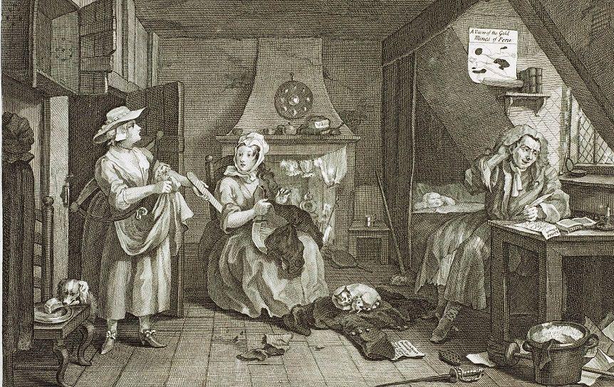 Уильям Хогарт. Несчастный поэт, 1736, резцовая гравюра с масляной картины / Wikimedia