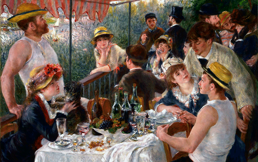 Огюст Ренуар. «Завтрак гребцов» или «Беззаботный отдых бездельников», как критики-социалисты назвали эту картину . , 1880-1881 гг.  / Wikimedia