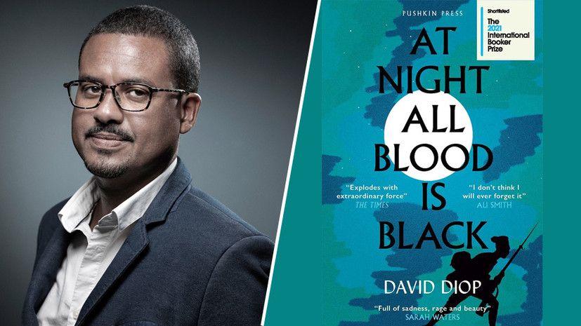 Давид Диоп; обложка книги «Ночью вся кровь черна» © AFP / Pushkin Press