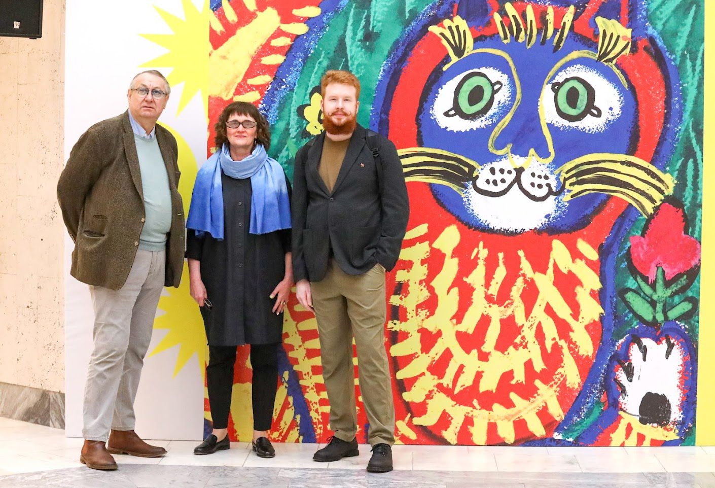 Справа налево: Никита Терешин, дизайнер выставки; Ольга Монина, художник; Александр Шелудченко - наследник Мавриной, исследователь ее творчества / пресс-служба РГДБ